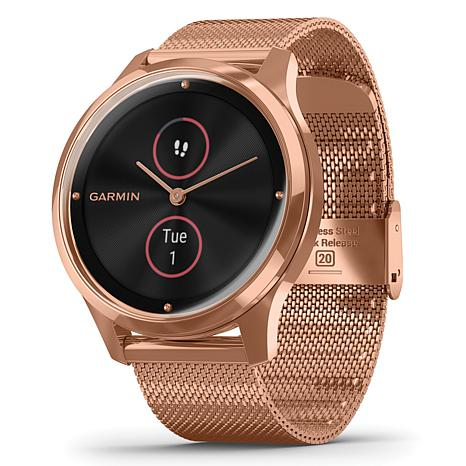 Garmin Vivomove Luxe Smartwatch in 18k Rose Gold PVD w/Milanes Band