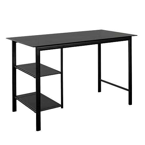 Southern enterprises garry contemporary metal and glass desk black with smoky 8505190 hsn - Metal and glass desks ...