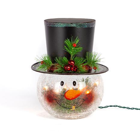 "Gerson 12"" Electric Crackle Glass Snowman Head Lamp"
