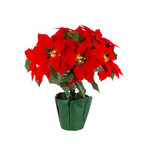 "Gerson 17.25"" Battery Operated Lighted Poinsettia with 9 Lit Flowers"