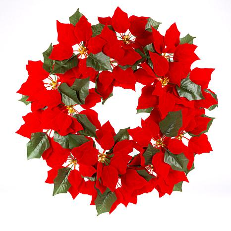 """Gerson 24""""Dia. Lighted Poinsettia Wreath with 45 Warm Micro LED Lights"""