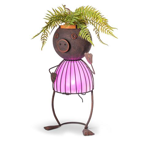 "Gerson Company 20.87"" Solar Lighted Garden Meadow Pig Pot Head"