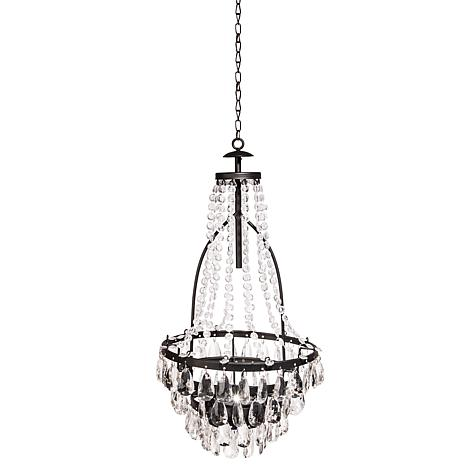 Gerson Solar LED Metal and Acrylic Beaded Chandelier