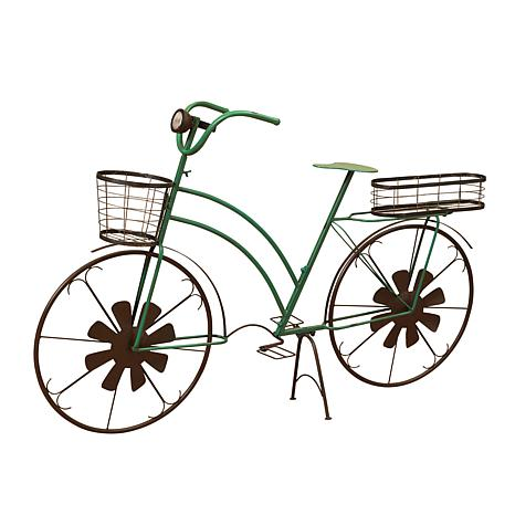 Gerson Solar-Powered Bicycle Plant Stand w/Wind Spinner Spokes - Green