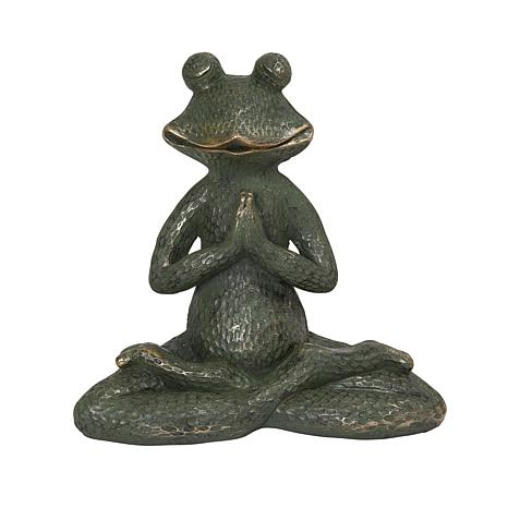 Gerson Verdigris and Gold Magnesium Yoga Frog Figurine