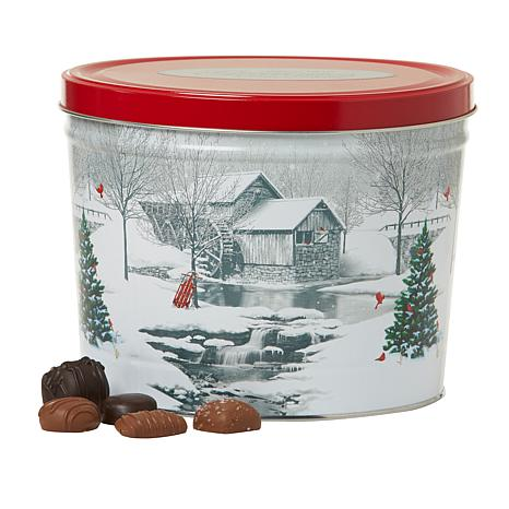 Giannios 5.5 lbs. Assorted Chocolates in Snow Covered Mill Tin