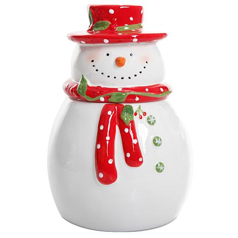 """Gibson Home Holiday Cheer 7.5"""" Snowman Hand-Painted Cookie Jar"""
