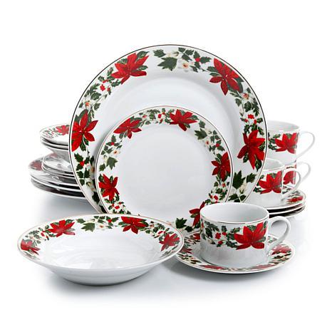 Gibson Home20 Piece Poinsettia Holiday Dinnerware Set