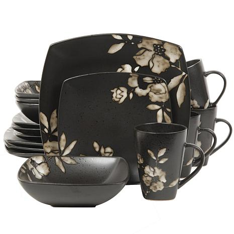 Gibson Lanark 16pc Dinnerware Set- Black