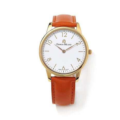 Giorgio Milano Goldtone Orange Leather Strap Watch
