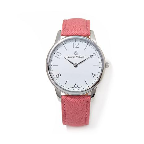 Giorgio Milano White Dial Pink Leather Strap Watch