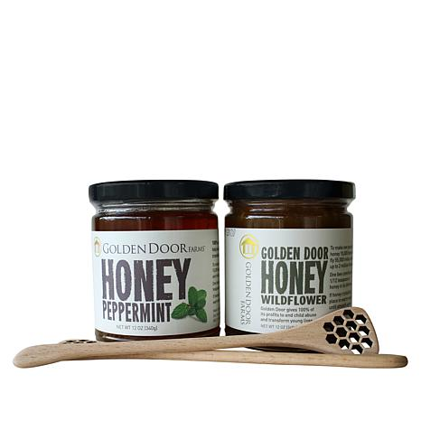 Golden Door 2-pack Raw Wildflower and Peppermint Honey with Dippers