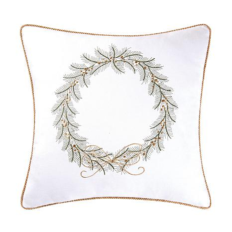 Golden Greenery Wreath Embroidered Pillow