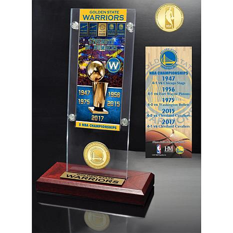 Golden State Warriors 5X NBA Champions Ticket and Bronz