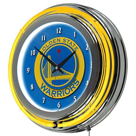 Golden State Warriors Double Ring Neon Clock
