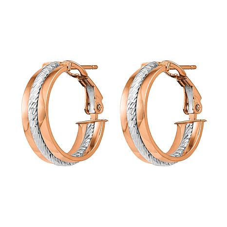 """Golden Treasures 14K Gold 11/16"""" Textured Hoop Earrings"""