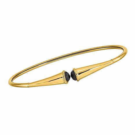 Golden Treasures 14K Gold Black Spinel Flexible Bangle Bracelet