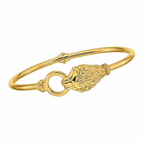 Golden Treasures 14K Gold Polished Lion's Head Hinged Bangle Bracelet