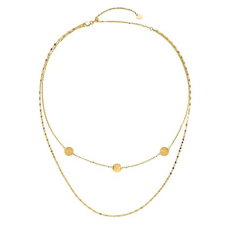 Golden Treasures 14K Gold Polished Multi-Strand Adjustable Necklace