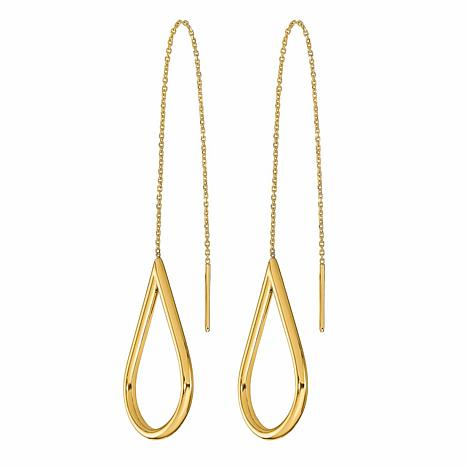 Golden Treasures 14K Gold Polished Pear Drop Threader Earrings