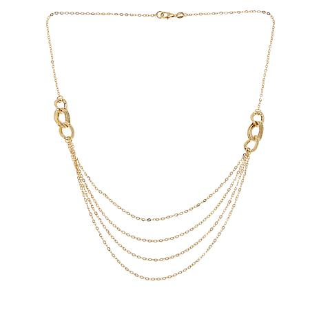 Italian Gold Chain >> Exclusive Golden Treasures 14k Italian Gold Four Row Layered Chain Necklace