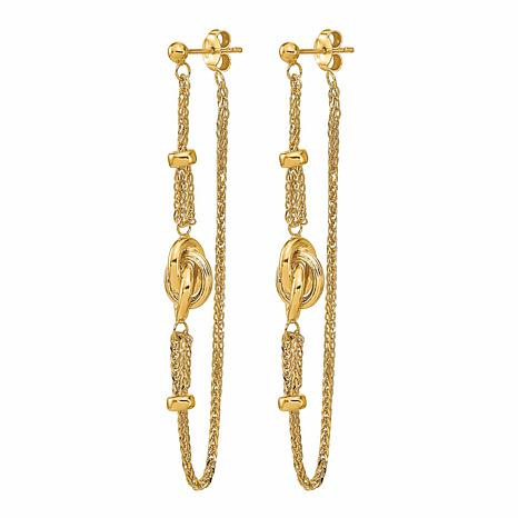 Golden Treasures 14k Polished Love Knot Front and Back Earrings