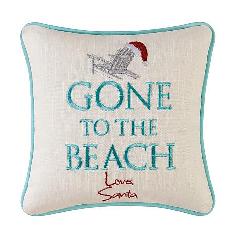 Gone To The Beach Embroidered Pillow