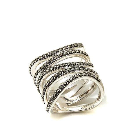 Gray Marcasite Sterling Silver Open Metalwork Wave Ring