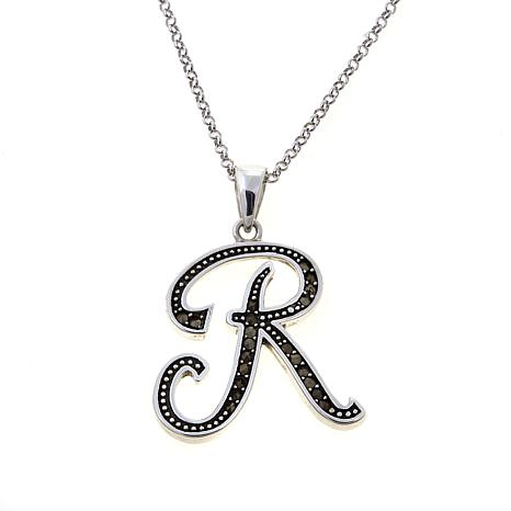 "Gray Marcasite Sterling Silver ""R"" Initial Pendant"