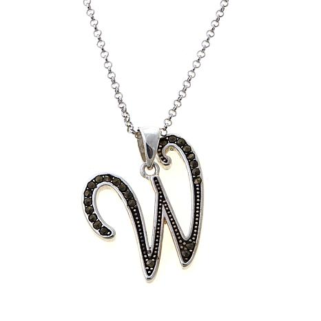 "Gray Marcasite Sterling Silver ""W"" Initial Pendant"