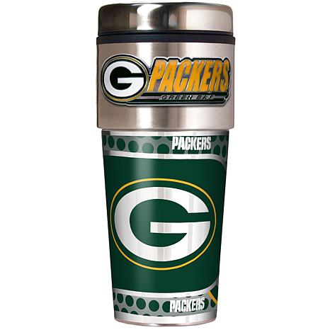 Green Bay Packers Travel Tumbler w/ Metallic Graphics and Team Logo