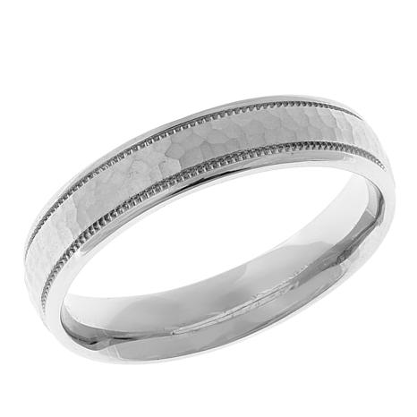 Hammered and Milgrain 4mm Sterling Silver Band Ring