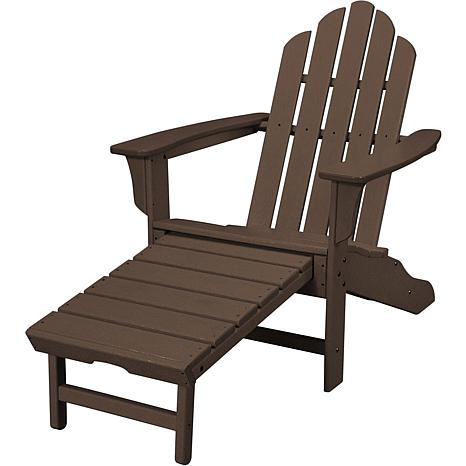 Hanover All-Weather Contoured Adirondack Chair with Hideaway Ottoma...