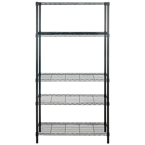 happimess alpha 5 tier wire shelving chrome 8273048 hsn. Black Bedroom Furniture Sets. Home Design Ideas