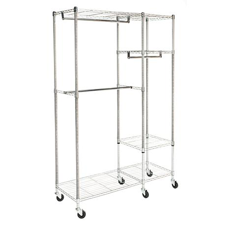 "happimess Cayla 74"" Garment Rack on Casters - Chrome/Black"