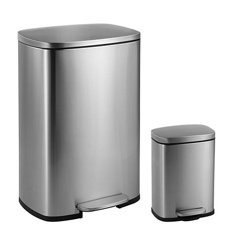 happimess Connor 12.98-Gallon Stainless Steel Trash Can with Mini Can