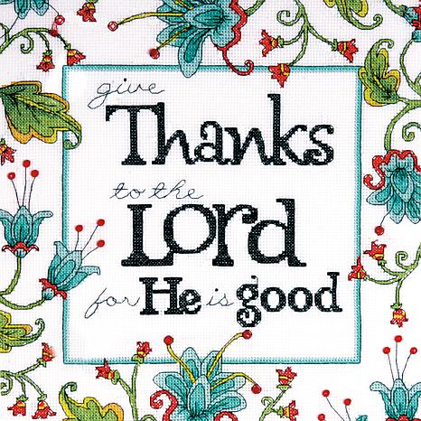 "Heartfelt Give Thanks 10""x10"" Counted Cross Stitch Kit"
