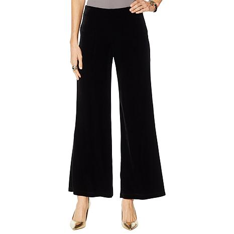 "Heidi Daus ""Always a Classic"" Stretch Velvet Wide-Leg Pant"