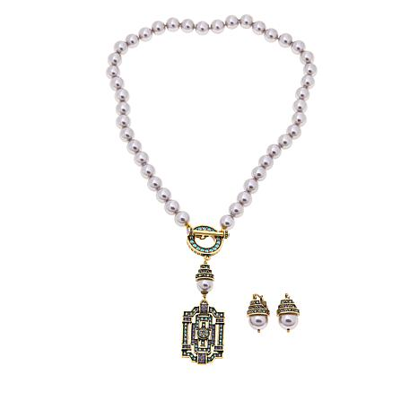 "Heidi Daus ""Classic Edition"" Simulated Pearl Crystal Necklace & Ear..."
