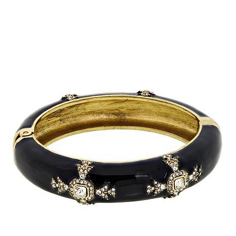 "Heidi Daus ""Day and Night"" Crystal and Enamel Bangle Bracelet"