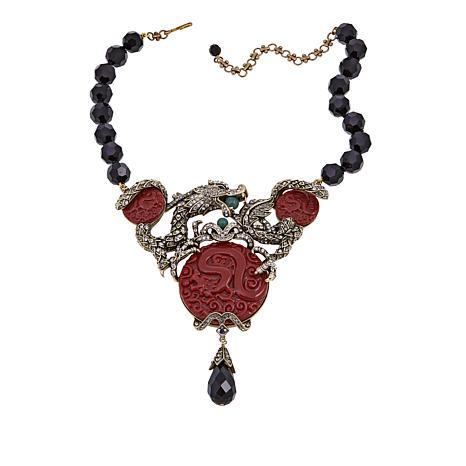 "Heidi Daus ""Dragon Treasure"" Beaded Crystal Drop Necklace"