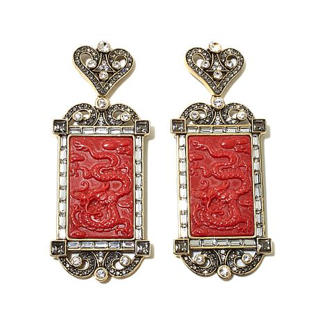 """Heidi Daus """"Exotique Chinoiserie"""" Carved Earrings"""