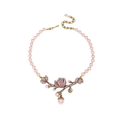 """Heidi Daus """"Floral Notes"""" Simulated Pearl Drop Necklace"""