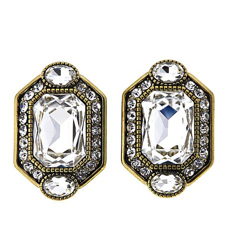 "Heidi Daus ""Graceful Edition"" Crystal-Accented Button Earrings"