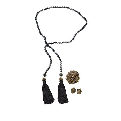 Heidi Daus Lariat Necklace, Drop Earrings and Pin Set