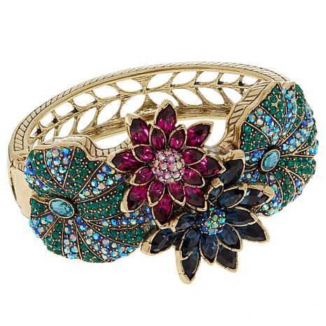 """Heidi Daus """"Leaping Lily Pads"""" Crystal-Accented Bangle Bracelet"""