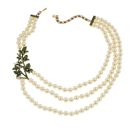 """Heidi Daus """"Legends of Love"""" 3-Strand Beaded Crystal Station Necklace"""