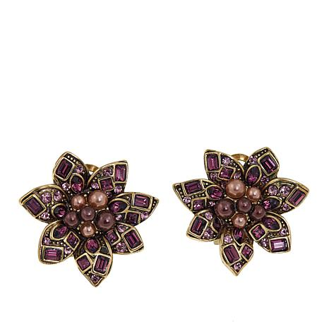 "Heidi Daus ""Lovely Linda"" Crystal Floral Earrings"