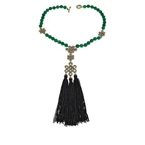 "Heidi Daus ""Shanghai Chic"" Beaded Tassel Drop Necklace"