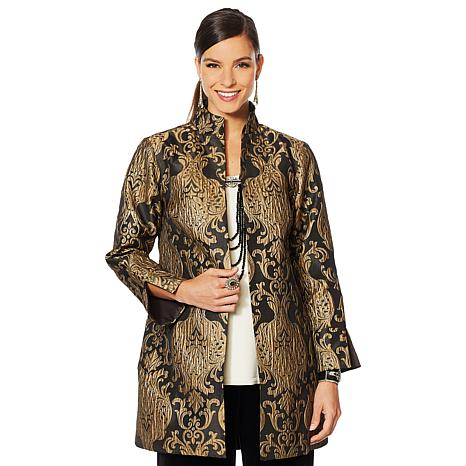 "Heidi Daus ""Suit Your Fancy"" Brocade Metallic Topper"